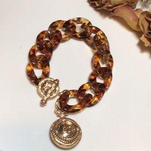 Tortoise shell Authentic CC button bracelet